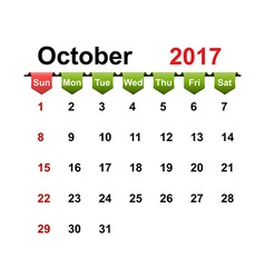 Simple calendar 2017 year october month vector