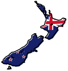 simplified map of new zealand outline with vector image