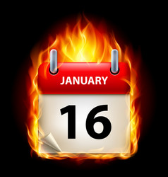 Sixteenth january in calendar burning icon on vector