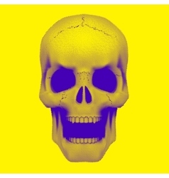 Skull in vintage duotone and halftone style vector image
