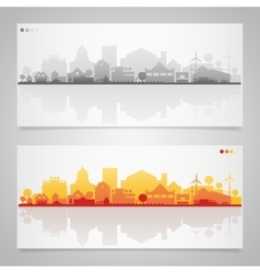 Small town and village silhouettes Multicolored vector