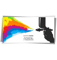 spray gun in hand multicolored paint splatter vector image