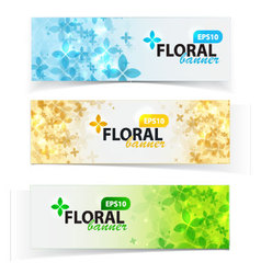 Spring floral banners set vector image