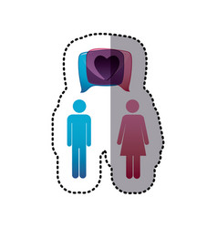Sticker colorful pictogram male and female with vector