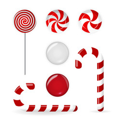 Sweet candy of various forms cane circle on stick vector