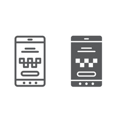 taxi mobile app line and glyph icon taxi and vector image