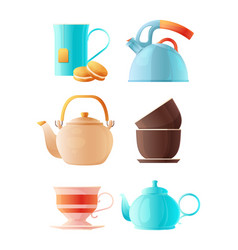 teapots set cartoon pictures of cup of tea vector image
