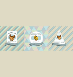 three colored labels with chicken vector image