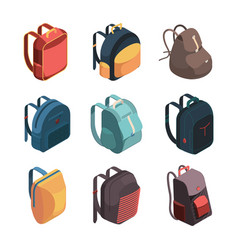 travel bag pack isometric baggage colorful school vector image