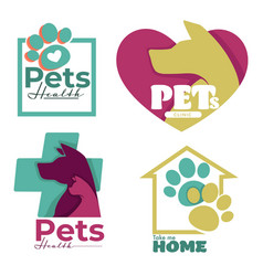 Vet clinic or animal shelter dog and cat isolated vector