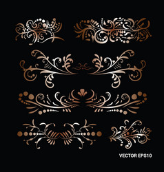 victorian set golden ornate page decor vector image