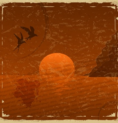 Vintage card with sunset and seagulls vector