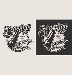 vintage craft beer emblem vector image