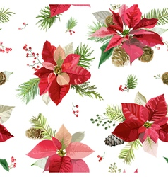 Vintage Poinsettia Flowers Background Seamless vector