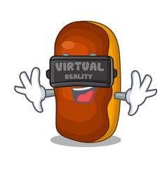 Virtual reality mascot cartoon eclair cake color vector
