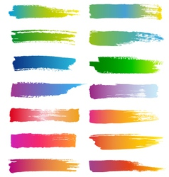 watercolor brush strokes set vector image