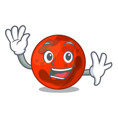 Waving mars planet character cartoon vector