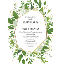 Wedding floral greenery invitation invite card vector