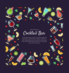 welcome to cocktail bar banner template with place vector image