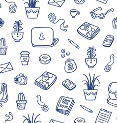 Whats on my table deep blue ink seamless pattern vector image