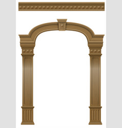 wooden arch of portal door with columns vector image