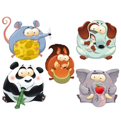 Group of funny animals with food vector image vector image
