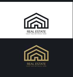 Minimal line style real estate logo design vector