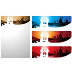 nativity scene and the three wise men vector image vector image