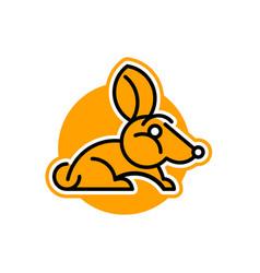 rabbit logo pet isolated object orange vector image