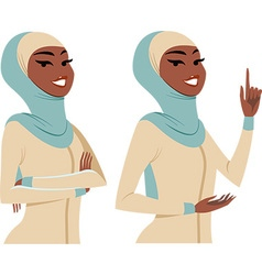 woman making gestures vector image vector image