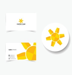 Business card with of sun vector