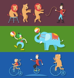 Circus performance with animals clown actor vector image
