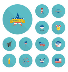 Flat icons barbecue firecracker american banner vector