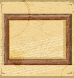 Vintage card with wooden frames in grunge style vector image vector image