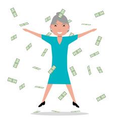 cartoon grandmother jumping falling money vector image vector image