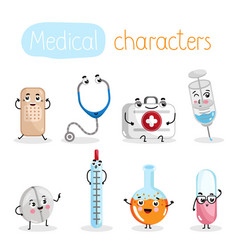 funny medicine equipment cartoon characters vector image vector image