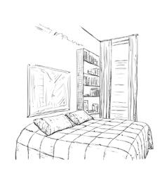 Hand drawn bedroom interior sketch vector image