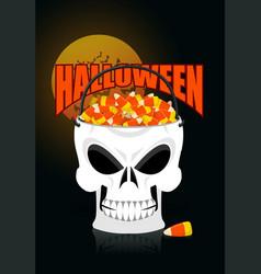 happy halloween skull basket candy corn trick or vector image