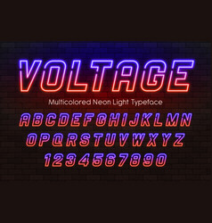 neon light alphabet multicolored extra glowing vector image