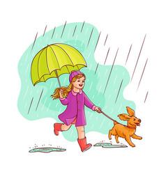 sketh teen girl walking umbrella rain dog vector image
