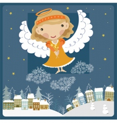 angel above the town vector image vector image