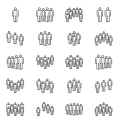 human crowd symbols people group line vector image vector image