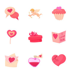 saint valentine day icons set cartoon style vector image vector image