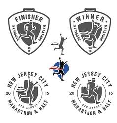 Set of vintage marathon labels and design elements vector image