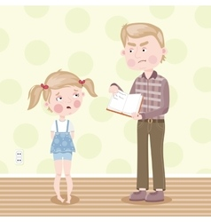 The girl was blamed for poor homework vector image