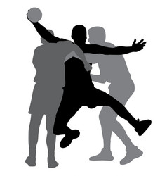 two handball players blocking opponent player vector image