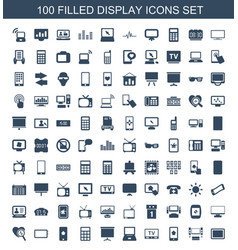100 display icons vector image