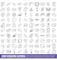 100 vision icons set outline style vector