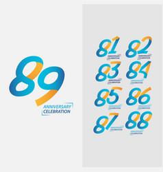 89 year anniversary celebration set template vector