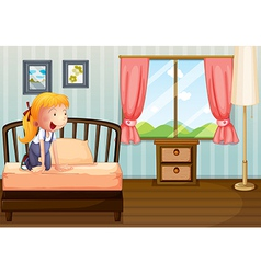 A girl smiling at her room vector